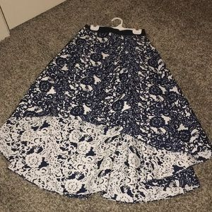 Anthropologie high-low navy floral skirt
